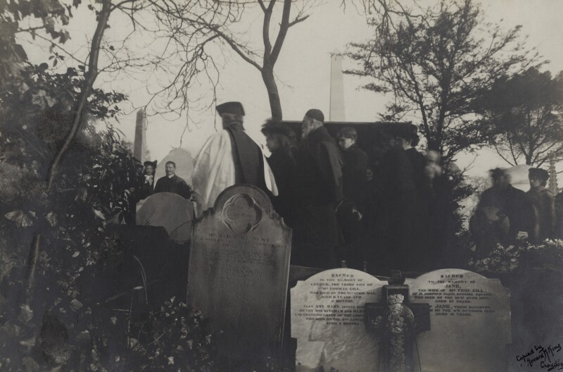 The burial of Christina Georgina Rossetti (including Glendinning Nash; William Michael Rossetti and family), copy by Howard M. King, 2 January 1895 - NPG x38877 - © National Portrait Gallery, London