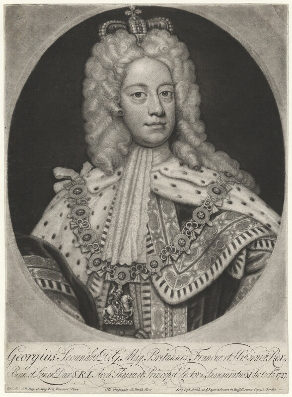 King George II when Prince of Wales, by John Smith, after  Sir Godfrey Kneller, Bt, 1727 - NPG D10756 - © National Portrait Gallery, London