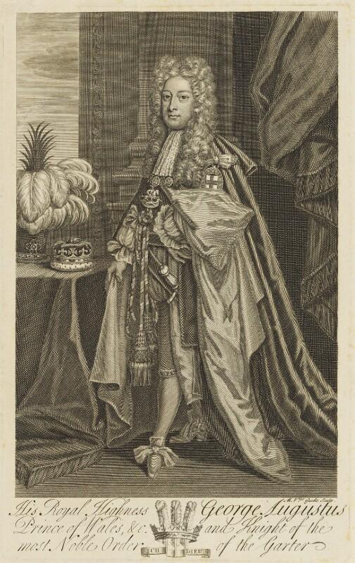 King George II, by Michael Vandergucht, after  Sir Godfrey Kneller, Bt, before 1727 - NPG D10760 - © National Portrait Gallery, London