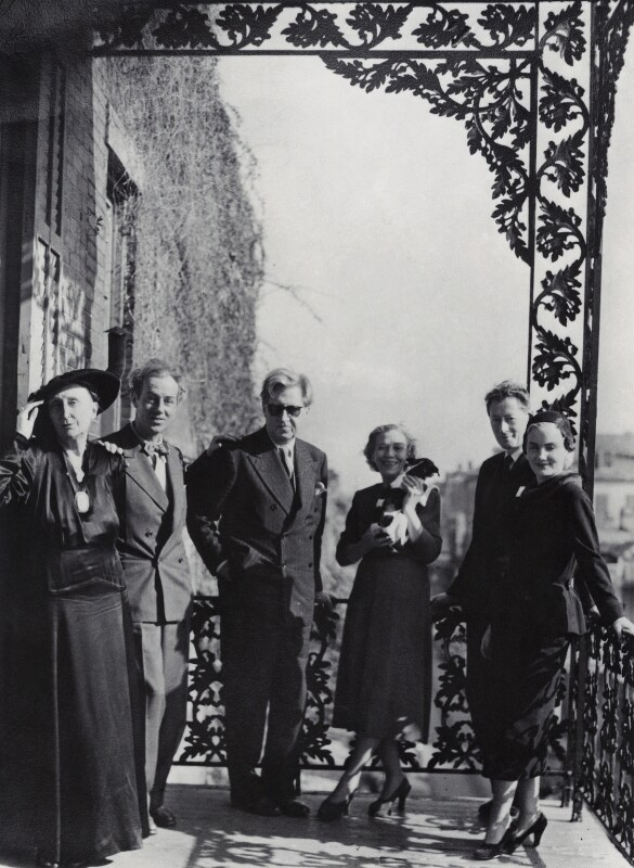 Group including Edith Sitwell; Philip Steegman; Sir Osbert Sitwell; Elizabeth Steegman, by Unknown photographer, 12 February 1951 - NPG x4295 - © reserved; collection National Portrait Gallery, London
