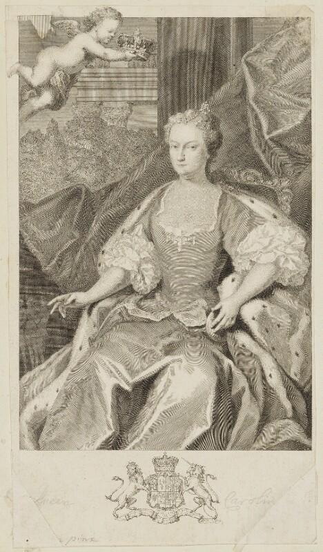 Caroline Wilhelmina of Brandenburg-Ansbach, by George Vertue, after  Jacopo Amigoni, 1736 (1735) - NPG D10772 - © National Portrait Gallery, London