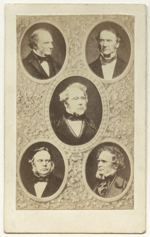 Carte-de-visite photomontage featuring John Russell, John Bright and others.., by Unknown photographer, 1860s - NPG x4330 - © National Portrait Gallery, London