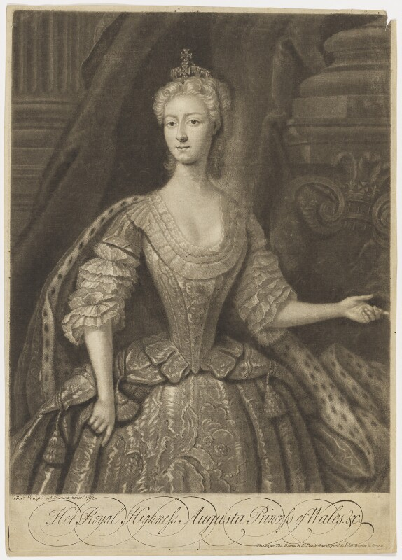Augusta of Saxe-Gotha, Princess of Wales, by John Faber Jr, after  Charles Philips, (1737) - NPG D10777 - © National Portrait Gallery, London