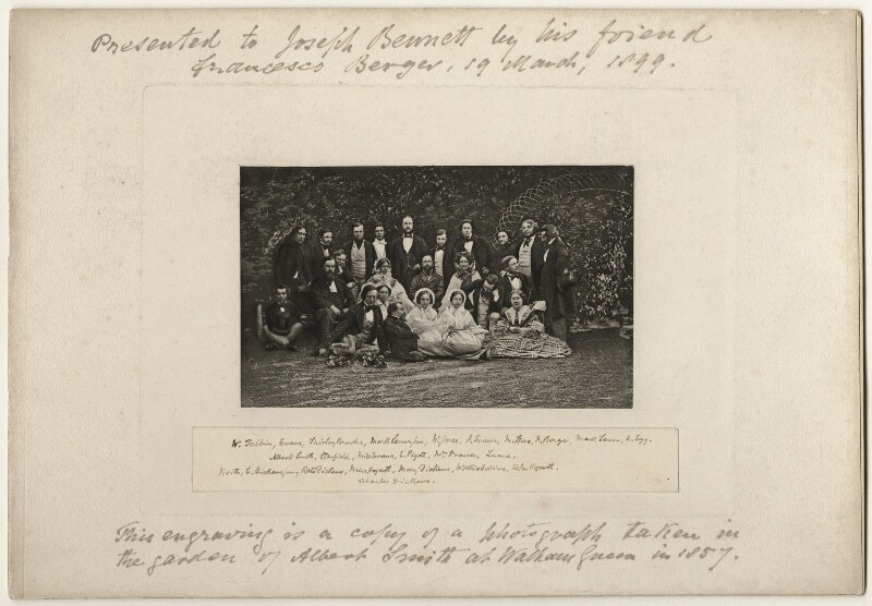 Group including Clarkson Stanfield, Charles Dickens, Wilkie Collins and Augustus Leopold Egg, after Unknown photographer, (1857) - NPG x45067 - © National Portrait Gallery, London