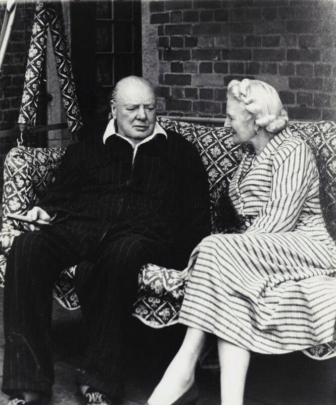 Clementine Ogilvy Spencer-Churchill (née Hozier), Baroness Spencer-Churchill; Winston Churchill, by Vivienne, September 1951 - NPG x45178 - © reserved; collection National Portrait Gallery, London