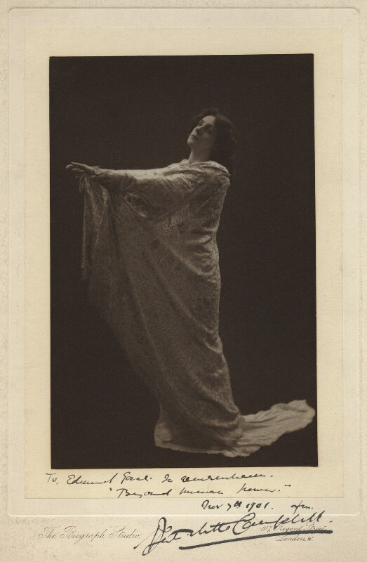 Mrs Patrick Campbell as Mrs Clara Sang in 'Beyond Human Power', by The Biograph Studio, 1901 - NPG x4611 - © National Portrait Gallery, London