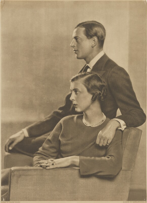Princess Marina, Duchess of Kent; Prince George, Duke of Kent, by Waterlow & Sons Ltd, after  Dorothy Wilding, October 1934 - NPG x46513 - © William Hustler and Georgina Hustler / National Portrait Gallery, London