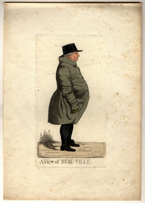 Benjamin Bovill ('A view of Beau-ville'), by and published by Richard Dighton, reissued by  Thomas McLean, published 1824 - NPG D10807 - © National Portrait Gallery, London