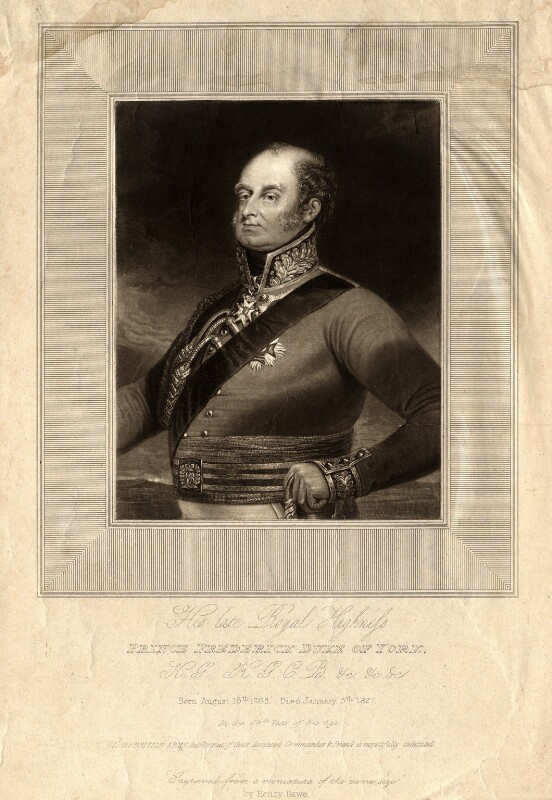 Frederick, Duke of York and Albany, by Henry Edward Dawe, probably 1827 - NPG D10825 - © National Portrait Gallery, London