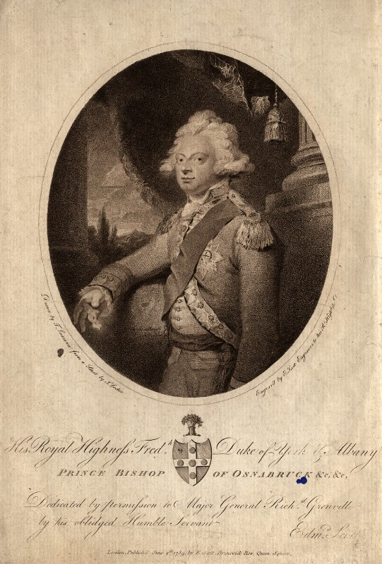 Frederick, Duke of York and Albany, by Edmund Scott, after  Sir Thomas Lawrence, published 1789 - NPG D10827 - © National Portrait Gallery, London