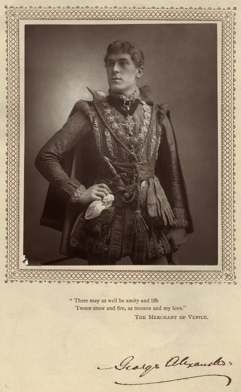 Sir George Alexander (George Samson) as Bassanio in 'The Merchant of Venice', by Benjamin Joseph Falk, published by  David Bogue, published 1 April 1885 - NPG x5153 - © National Portrait Gallery, London