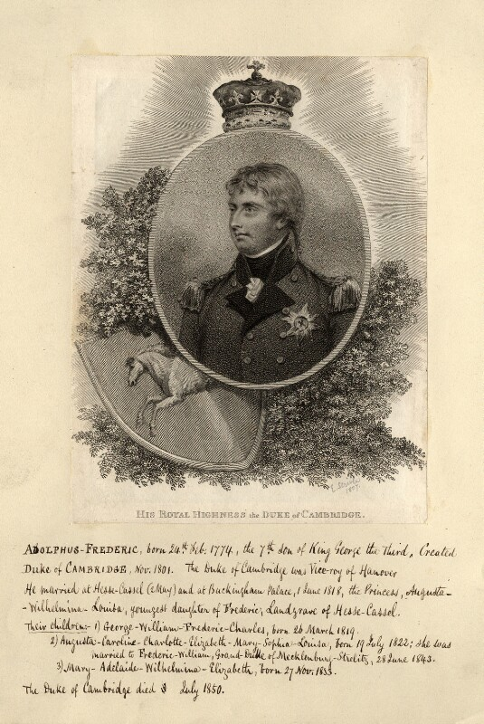 Prince Adolphus Frederick, Duke of Cambridge, by Edward Scriven, published 1807 - NPG D10831 - © National Portrait Gallery, London