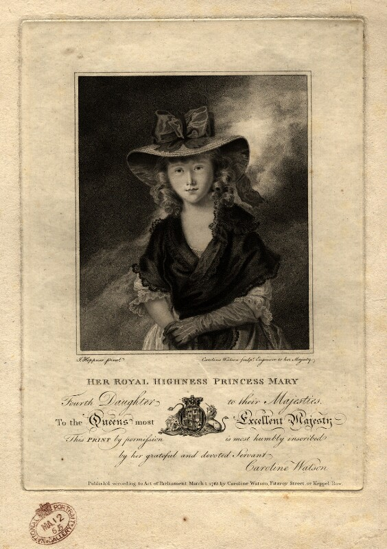 Princess Mary, Duchess of Gloucester, by Caroline Watson, after  John Hoppner, published 1785 - NPG D10840 - © National Portrait Gallery, London