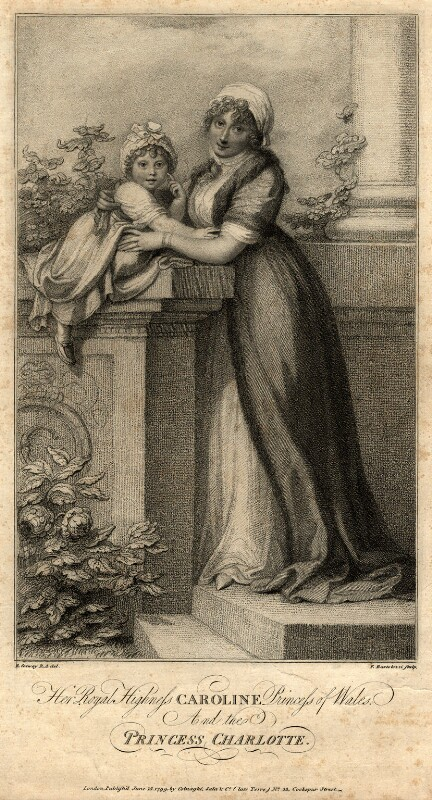 Princess Charlotte Augusta of Wales; Caroline Amelia Elizabeth of Brunswick, by Francesco Bartolozzi, after  Richard Cosway, published 1799 - NPG D10848 - © National Portrait Gallery, London