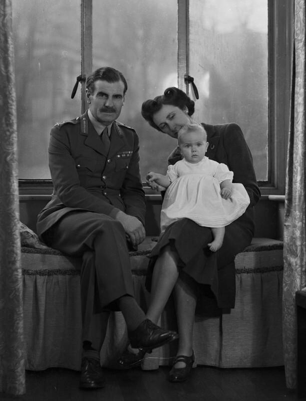 Miss Nye; Sir Archibald Edward Nye; Colleen Nye (née Knox), by Bassano Ltd, 5 December 1945 - NPG x73197 - © National Portrait Gallery, London