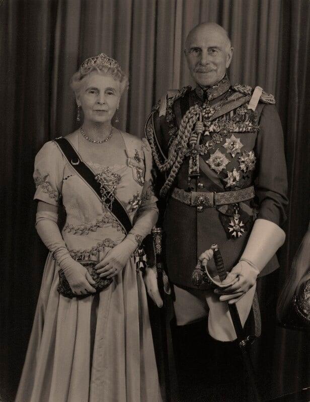 Princess Alice, Countess of Athlone; Prince Alexander Cambridge, Earl of Athlone, by Hay Wrightson Ltd, circa 1953 - NPG x74242 - © National Portrait Gallery, London