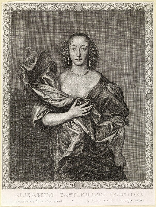 Elizabeth (née Brydges), Countess Castlehaven, by Pierre Lombart, after  Sir Anthony van Dyck, mid 17th century - NPG D10889 - © National Portrait Gallery, London