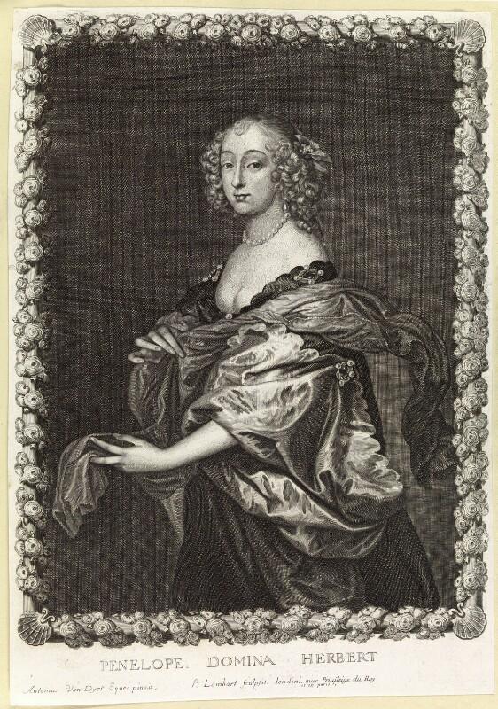 Penelope (née Naunton), Lady Herbert, by Pierre Lombart, after  Sir Anthony van Dyck, mid 17th century - NPG D10892 - © National Portrait Gallery, London