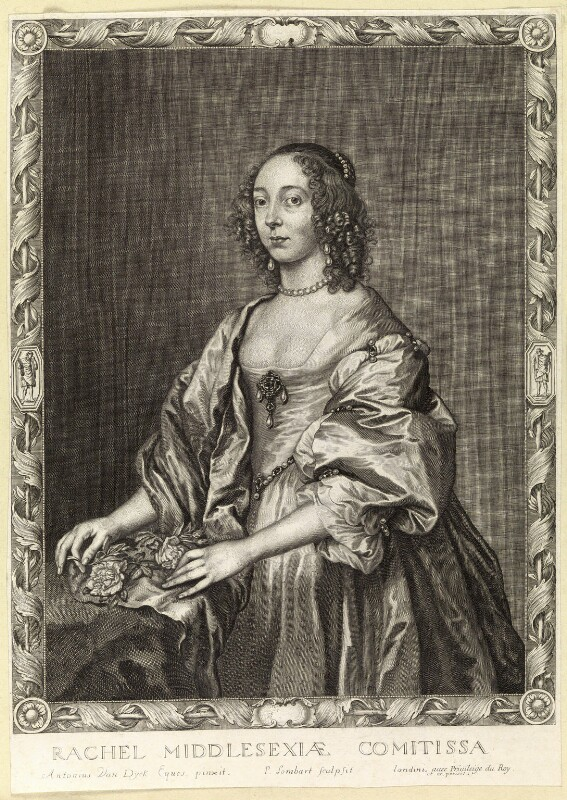 Rachael Cranfield (née Fane), Countess of Middlesex, by Pierre Lombart, after  Sir Anthony van Dyck, mid 17th century - NPG D10895 - © National Portrait Gallery, London