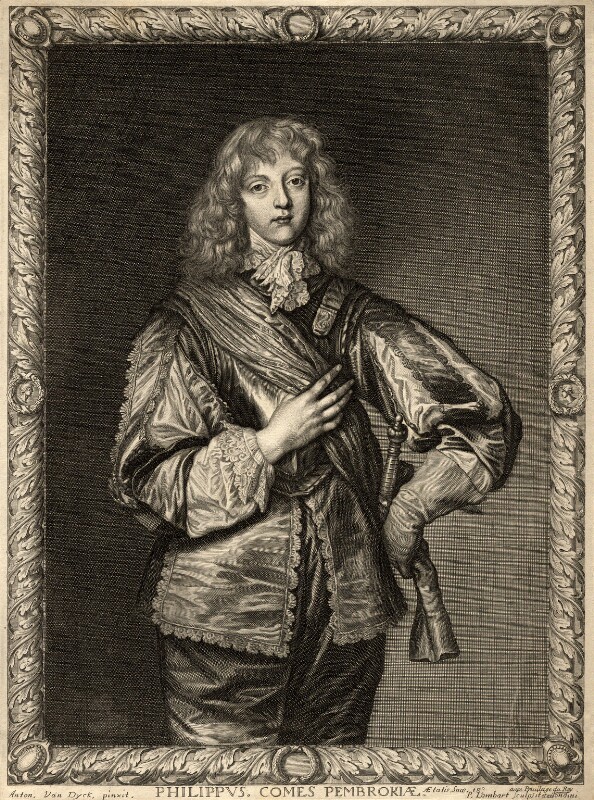 Philip Herbert, 5th Earl of Pembroke, by Pierre Lombart, after  Sir Anthony van Dyck, mid 17th century - NPG D10898 - © National Portrait Gallery, London