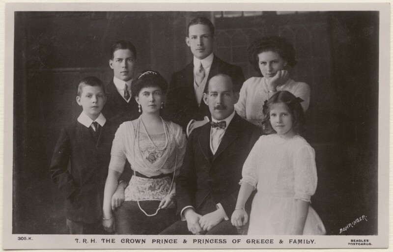 'T.R.H. The Crown Prince & Princess of Greece & Family', by Bowringer, published by  J. Beagles & Co, 1912 - NPG x74420 - © National Portrait Gallery, London