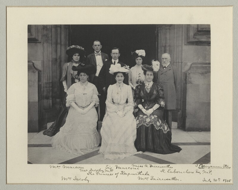 Group photo at Houses of Parliament including Mr and Mrs Marconi, Sir and Lady Jacoby and Maharani of Kapurthala., by Sir (John) Benjamin Stone, 20 July 1905 - NPG x75719 - © National Portrait Gallery, London