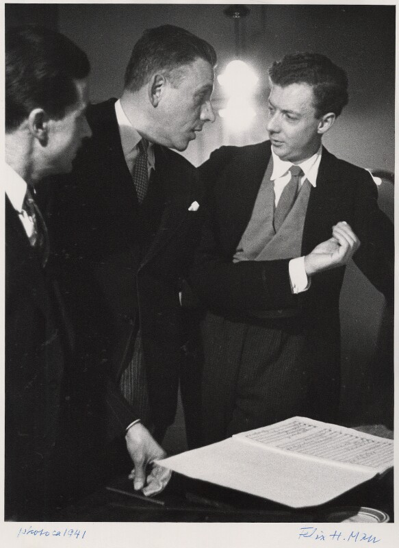 Peter Pears; Francis Poulenc; Benjamin Britten, by Felix H. Man, circa 1941 - NPG x76594 - © reserved; National Portrait Gallery, London