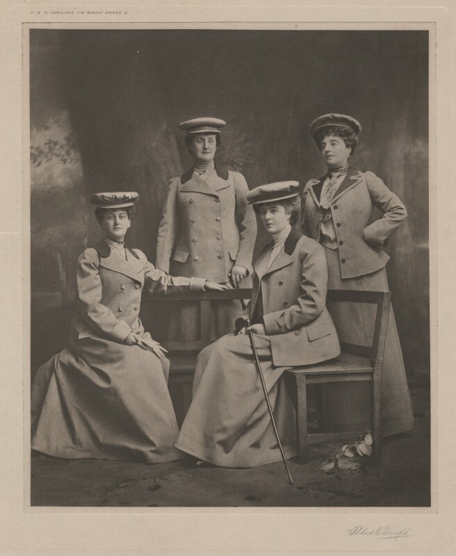 Beatrix Frances, Duchess of St Albans; Maud Evelyn Petty-Fitzmaurice, Marchioness of Lansdowne; Theresa Susey Helen Vane-Tempest-Stewart, Marchioness of Londonderry; Evelyn Emily Mary Cavendish, Duchess of Devonshire, by Frederick & Richard Speaight, early 1900s - NPG x76669 - © National Portrait Gallery, London