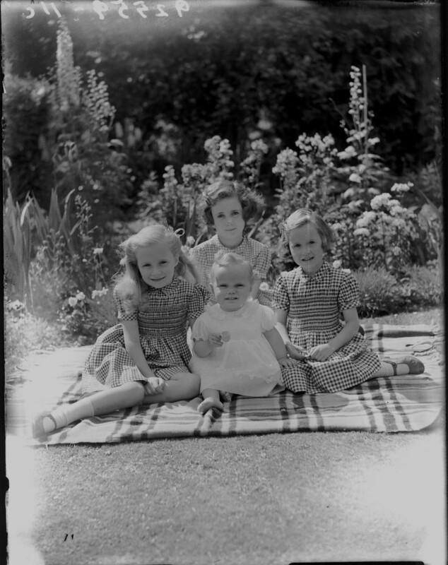 Lady Sarah Maguerite ('Sally') Aspinall (née Curzon); Lady Frances Esmé Denman (née Curzon); Susan Boyter Duncombe Dashwood (née Shafto); Ann Duncombe Peppiatt (née Shafto), by Bassano Ltd, 6 July 1946 - NPG x77965 - © National Portrait Gallery, London