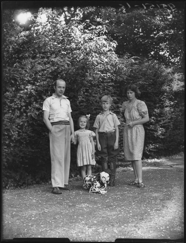 Candida Lycett Green; Sir John Betjeman; Penelope (née Chetwode), Lady Betjeman; Paul Betjeman, by Bassano Ltd, 30 July 1948 - NPG x78423 - © National Portrait Gallery, London