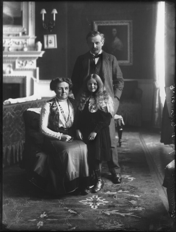Dame Margaret Lloyd George (née Owen); Lady Megan Arfon Lloyd George; David Lloyd George, by Bassano Ltd, 24 November 1910 - NPG x81054 - © National Portrait Gallery, London
