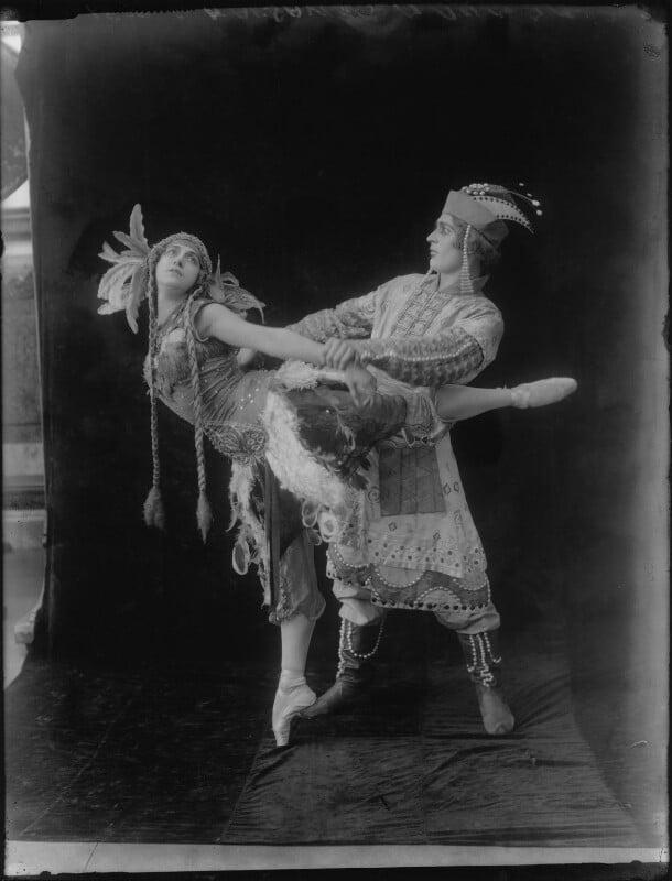 Tamara Karsavina as the Firebird and Adolph Bolm as Ivan Tsarevich in 'L'Oiseau de Feu' (The Firebird), by Bassano Ltd, 27 June 1912 - NPG x81076 - © National Portrait Gallery, London
