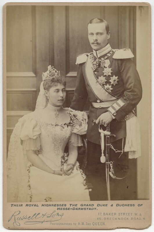 Victoria Melita, Grand Duchess of Russia; Ernest Ludwig, Grand Duke of Hesse and by Rhine, by James Russell & Sons, 19 April 1894 - NPG x87007 - © National Portrait Gallery, London