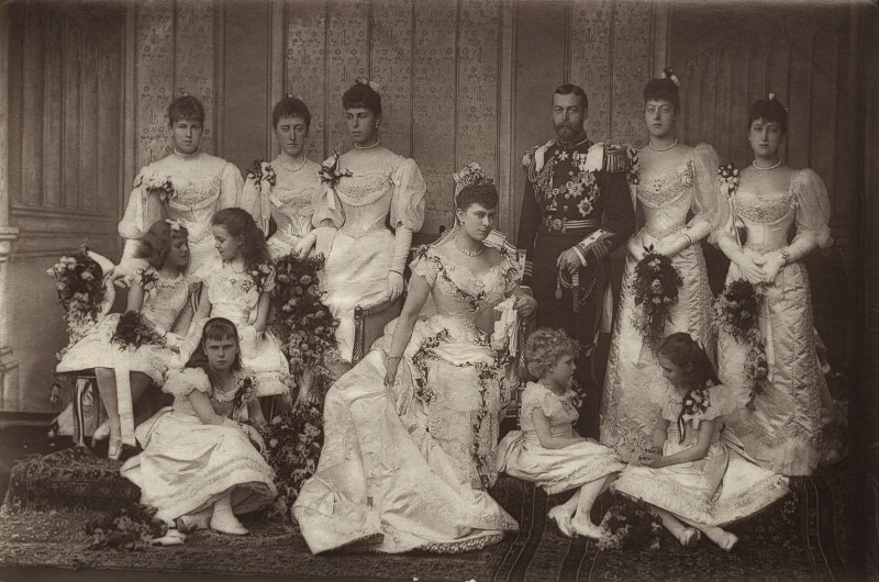 'The Duke and Duchess of York and Bridesmaids', by W. & D. Downey, 6 July 1893 - NPG x87212 - © National Portrait Gallery, London