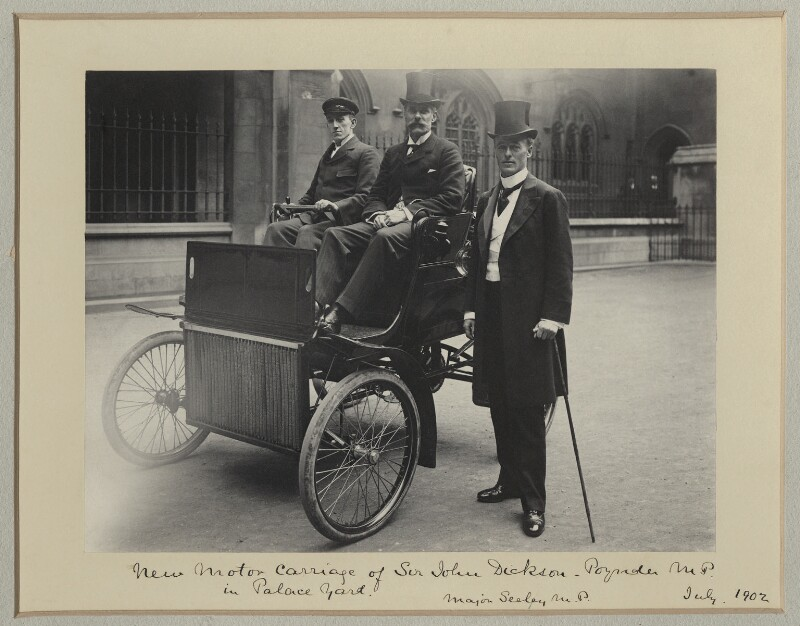 'New Motor Carriage of Sir John Dickson-Poynder MP in Palace Yard', by Benjamin Stone, July 1902 - NPG x87214 - © National Portrait Gallery, London