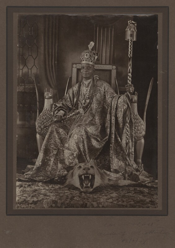 Ladapo Samuel Ademola II, King of Abeokuta, by Unknown photographer, 13 January 1947 - NPG x87241 - © reserved; collection National Portrait Gallery, London