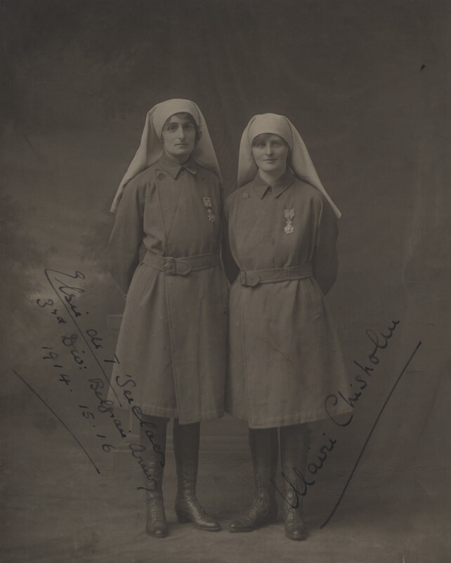 Elsie Knocker (Baroness T'Serclaes); Mairi Chisholm, by S.A. Chandler, circa 1917 - NPG x87250 - © National Portrait Gallery, London