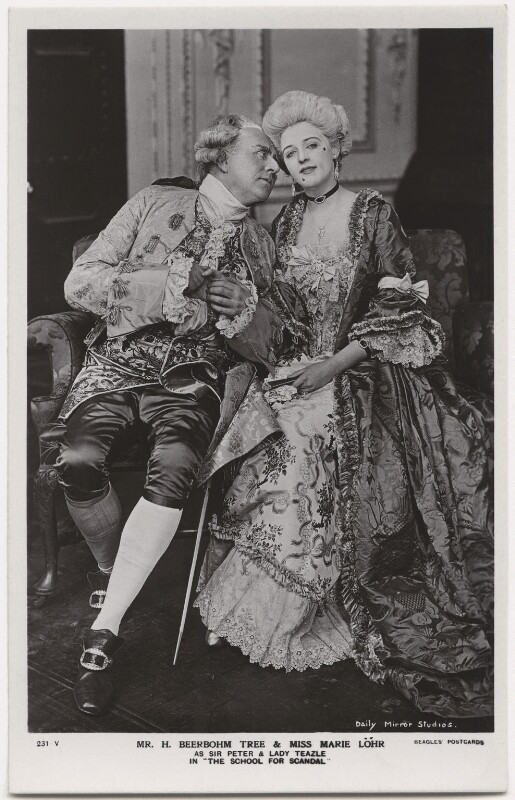 Sir Herbert Beerbohm Tree as Sir Peter Teazle; Marie Löhr (Lohr) as Lady Teazle in 'The School for Scandal', by Daily Mirror, published by  J. Beagles & Co, 1909 - NPG x8729 - © National Portrait Gallery, London