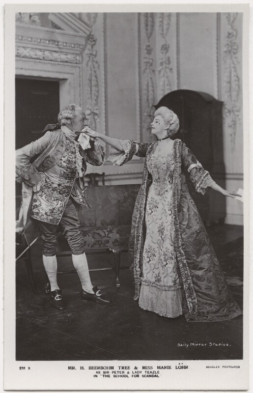Sir Herbert Beerbohm Tree as Sir Peter Teazle; Marie Löhr (Lohr) as Lady Teazle in 'The School for Scandal', by Daily Mirror, published by  J. Beagles & Co, 1909 - NPG x8732 - © National Portrait Gallery, London