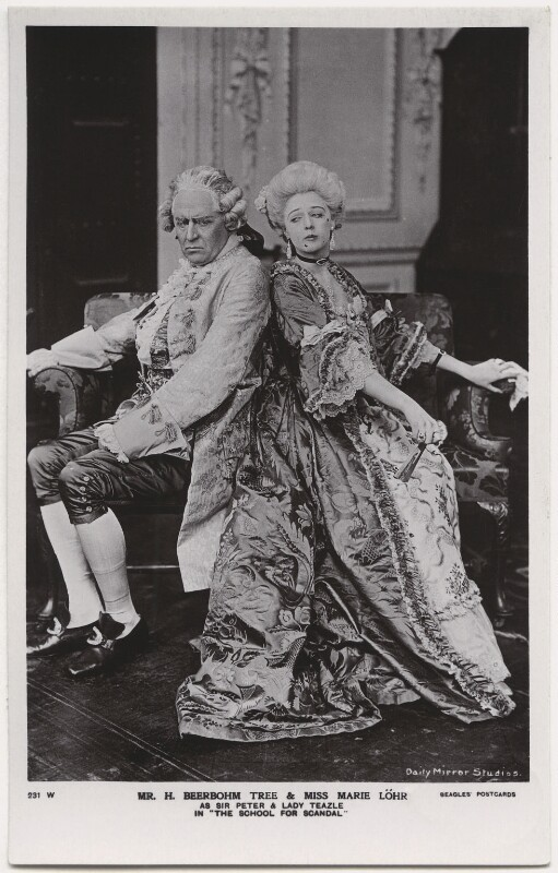 Sir Herbert Beerbohm Tree as Sir Peter Teazle; Marie Löhr (Lohr) as Lady Teazle in 'The School for Scandal', by Daily Mirror, published by  J. Beagles & Co, 1909 - NPG x8733 - © National Portrait Gallery, London
