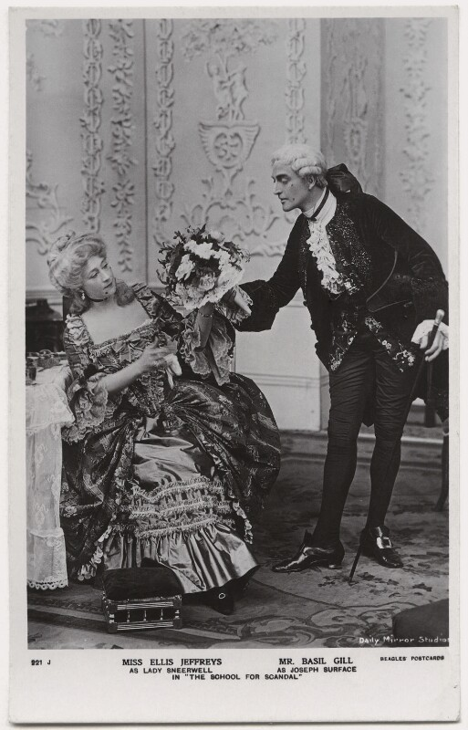 Ellis Jeffreys as Lady Sneerwell; Basil Gill as Joseph Surface in 'The School for Scandal', by Daily Mirror, published by  J. Beagles & Co, 1909 - NPG x8735 - © National Portrait Gallery, London