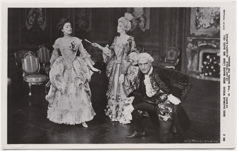 Dagmar Gladys Wiehe as Maria; Marie Löhr (Lohr) as Lady Teazle; Basil Gill as Joseph Surface in 'The School for Scandal', by Daily Mirror, published by  J. Beagles & Co, 1909 - NPG x8737 - © National Portrait Gallery, London