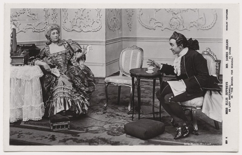 Ellis Jeffreys as Lady Sneerwell; James Hearn as Snake in 'The School for Scandal', by Daily Mirror, published by  J. Beagles & Co, 1909 - NPG x8739 - © National Portrait Gallery, London