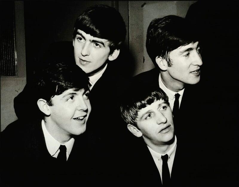 The Beatles (Paul McCartney; George Harrison; Ringo Starr; John Lennon), by Brian Aris, 1963 - NPG x87843 - © Brian Aris
