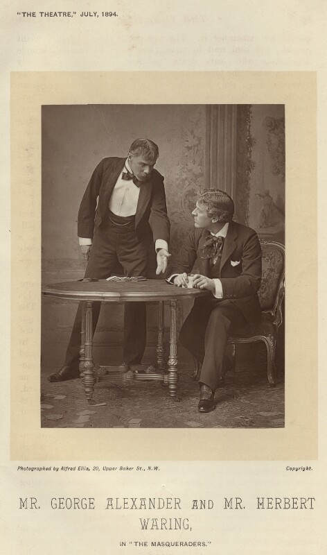 Herbert Waring as Sir Brice Skene; Sir George Alexander as David Remon in 'The Masqueraders', by Alfred Ellis, published 1 July 1894 - NPG x9385 - © National Portrait Gallery, London