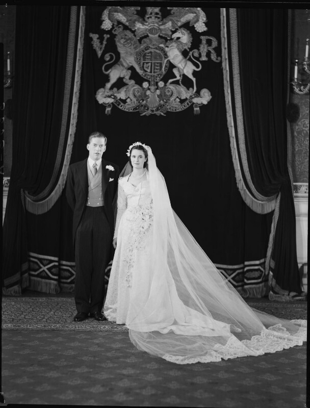 George Lascelles, 7th Earl of Harewood; Marion Stein, by Navana Vandyk, 28 September 1949 - NPG x97311 - © National Portrait Gallery, London