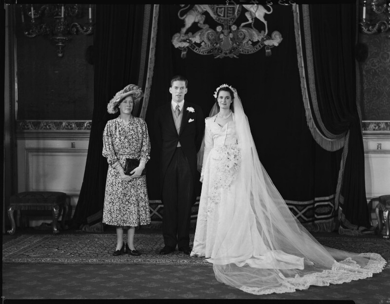 George Lascelles, 7th Earl of Harewood with Marion Stein and Princess Mary, Countess of Harewood, by Navana Vandyk, 28 September 1949 - NPG x97315 - © National Portrait Gallery, London