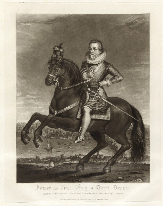 King James I of England and VI of Scotland, by Charles Turner, published by  Samuel Woodburn, after  Francis Delaram, published 1816 - NPG D34877 - © National Portrait Gallery, London