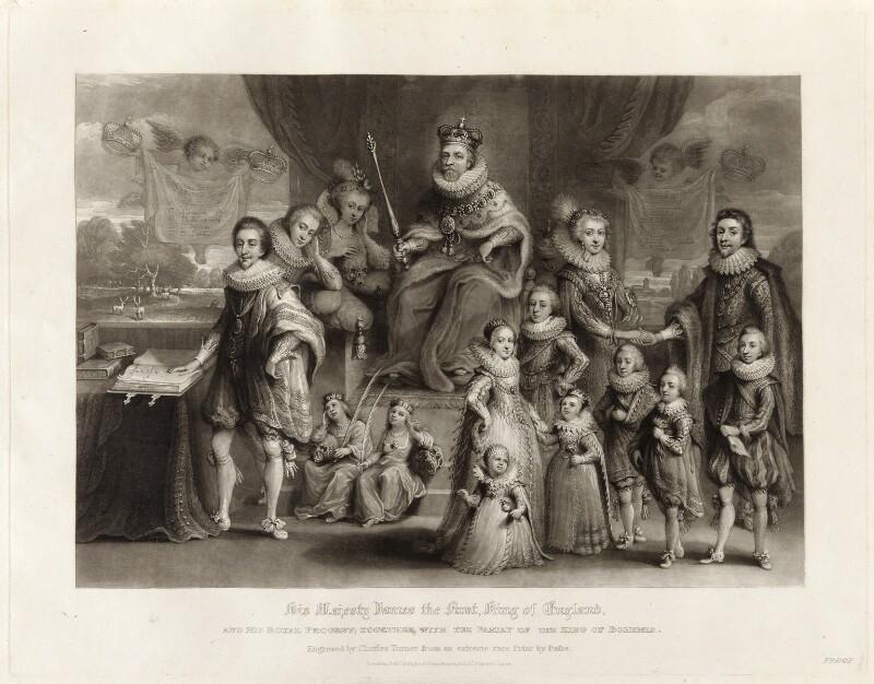 'James I and his royal progeny', by Charles Turner, published by  Samuel Woodburn, after  Willem de Passe, published 1814 - NPG D34878 - © National Portrait Gallery, London