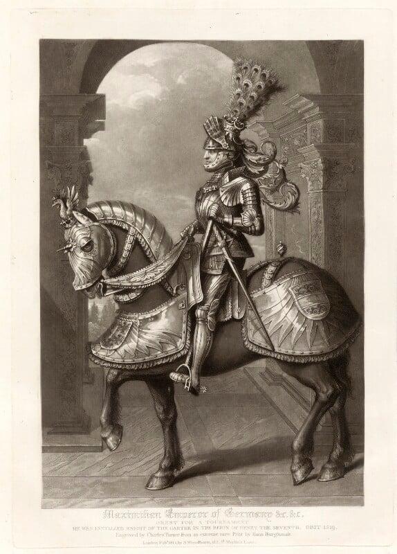 Maximilian I, Holy Roman Emperor, by Charles Turner, published by  Samuel Woodburn, after  Hans Burgkmair, published 1816 - NPG D34885 - © National Portrait Gallery, London